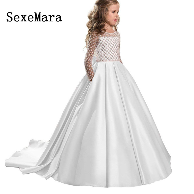 long sleeves girls dress long kids ball gown first communion dresses beautiful flower girl dress for wedding robe custom madelong sleeves girls dress long kids ball gown first communion dresses beautiful flower girl dress for wedding robe custom made
