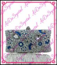 Aidocrystal handmade sequined gems paved slivery clutch bag and matching shoes for party