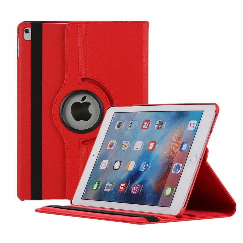 For iPad Air 2 Case 360 Degree Rotating PU Leather Flip Cover Case For iPad Air 2 Magnetic Auto Wake Up/Sleep Smart Cover A1566