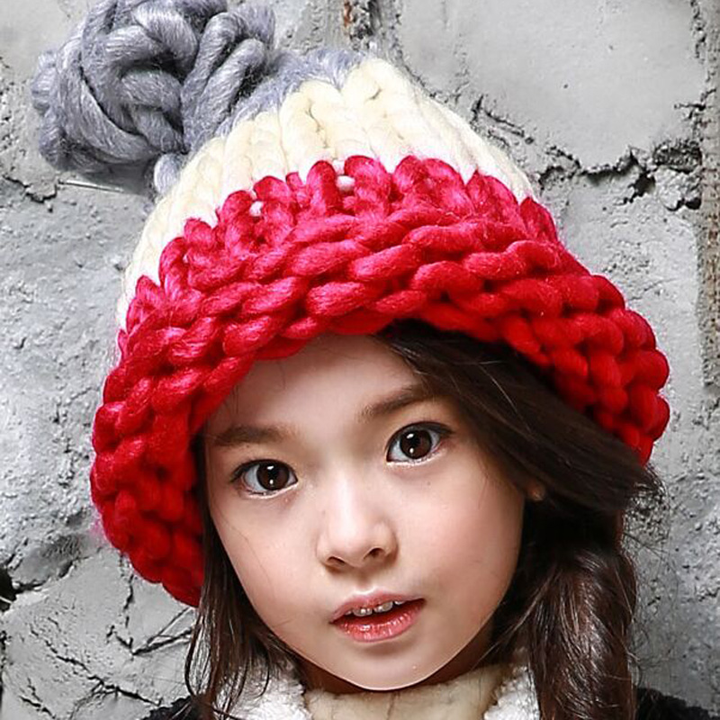 1 Pcs 2015 New Autumn Winter Children Warmmer Knitted Cap Girl And Boy Candy Color Thick wool Hats More Colors the new children s cubs hat qiu dong with cartoon animals knitting wool cap and pile