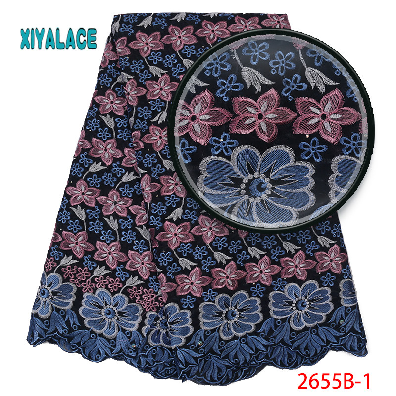 African Lace Fabric 2019 High Quality Lace Voile Lace Fabric New Design Swiss Voile Lace Switzerland Add Stones YA2655B-1