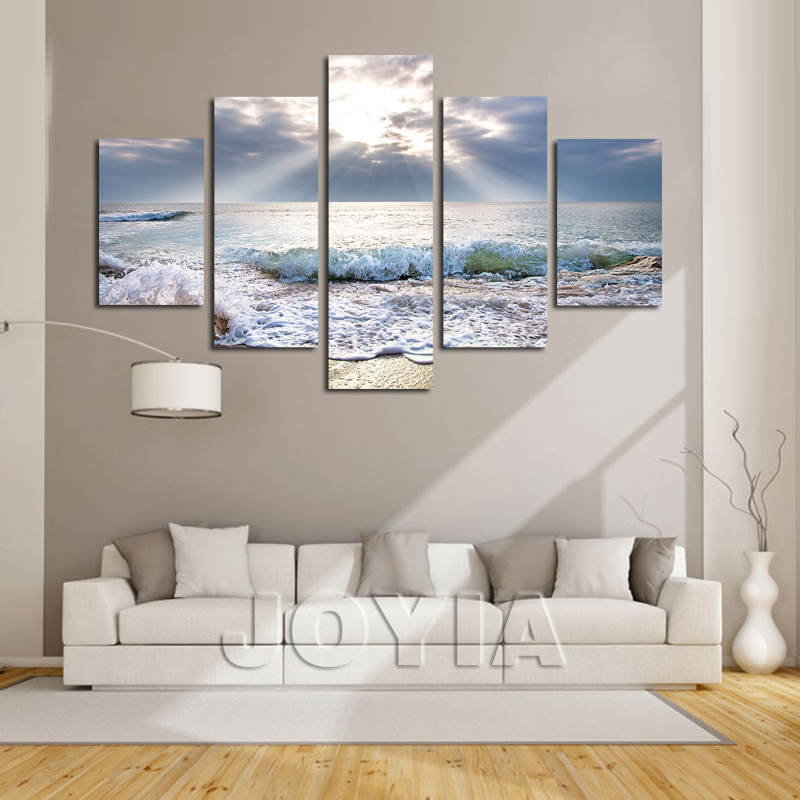 5 pieces multi panel modern home decor beach waves wall canvas art sunshine seascape paintings for living room decor not framed in painting calligraphy