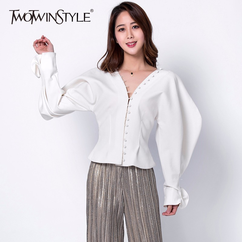 TWOTWINSTYLE 2019 Women's Shirt Palazzo Ruffles Lantern Sleeve Single Breasted V Neck High Waist Shirts Female Spring Thick Tops