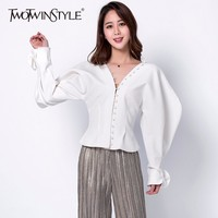 TWOTWINSTYLE 2018 Women S Shirt Palazzo Ruffles Lantern Sleeve Single Breasted V Neck High Waist Shirts