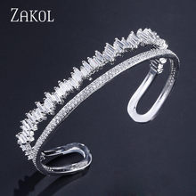 ZAKOL Women Fashion Jewelry Gorgeous Silver Color Cubic Zirconia Connected Tennis Bracelet For Women Ladies FSBP167(China)