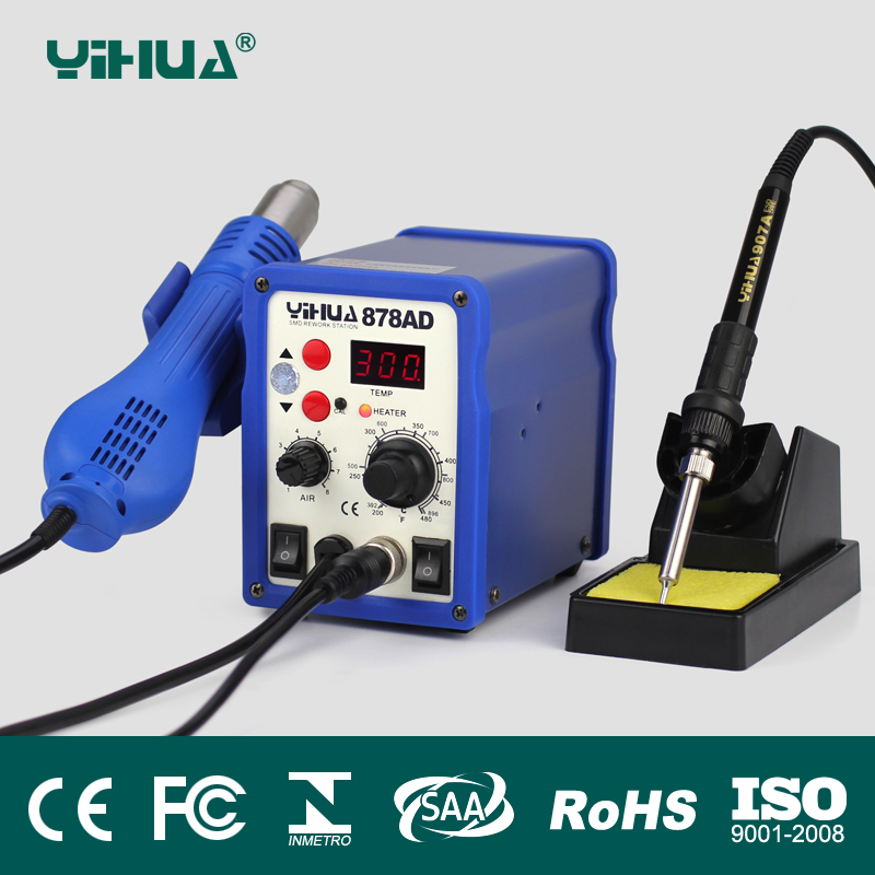 YIHUA 878AD 2 In 1 ESD Hot Air Gun Soldering Station Welding Solder Iron 110V OR 220V