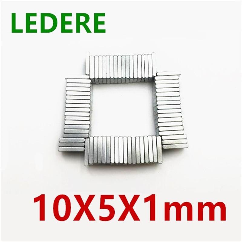 LEDERE 50/100 pcs/lot N35 Rectangular magnet 10x5x1 Super Strong Neodymium magnet 10*5*1 mm NdFeB magnet 10mm x 5mm x 1mm цена
