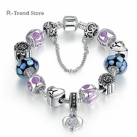 Flower Heart Charms Bracelet Purple Bracelets Bangles For Female Diy Jewelry Gift PA1898