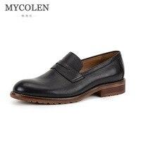 MYCOLEN 2018 новые мужские туфли без шнуровки Лоферы ручной работы минималистский Дизайн для мужчин обувь Повседневное дышащая Для мужчин обувь
