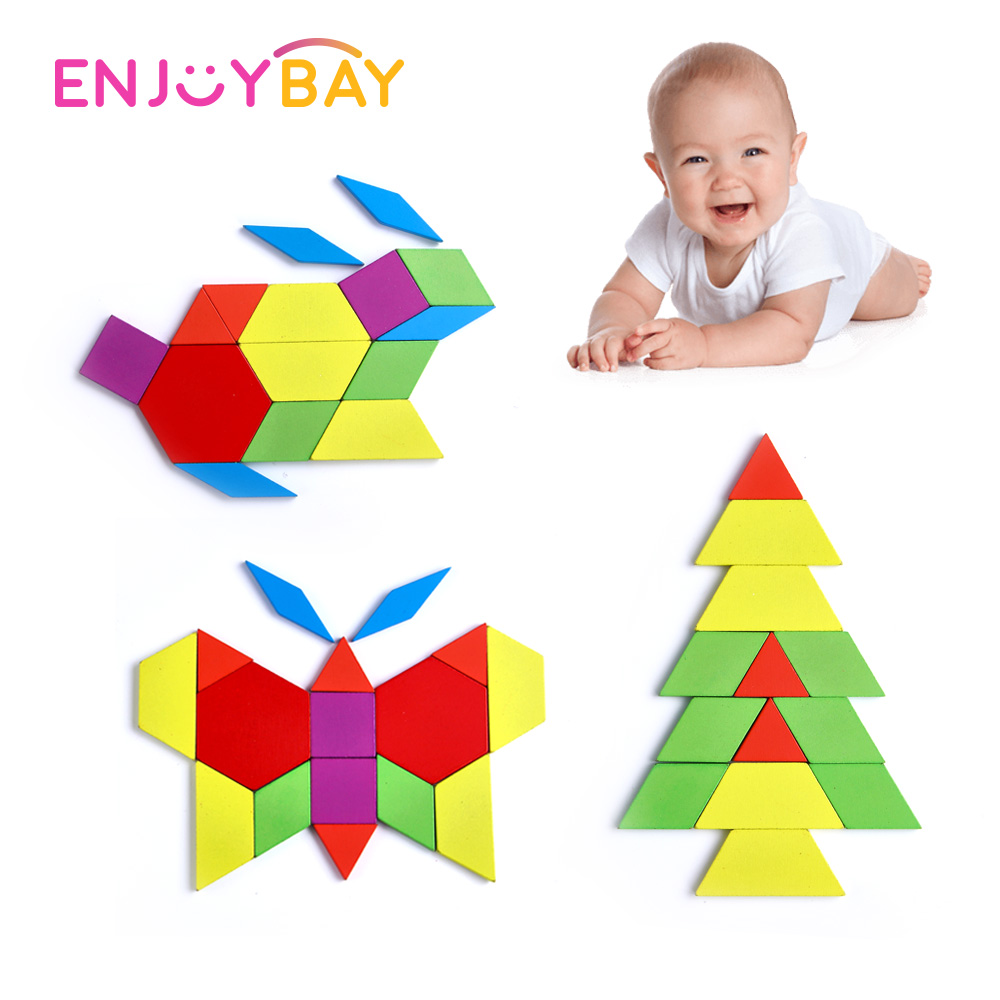 Enjoybay 130pcs Wooden Puzzle Games Toy Montessori Wood Jigsaw Puzzle Board Set Early Educational Toys for Children Kids Gift