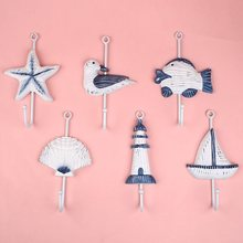 Italian Ocean Sea Sailing Boat Starfish Beacon Home Decor Bathroom Wall Hanger Hook Decor Fashion Door Kitchen Hanger(China)