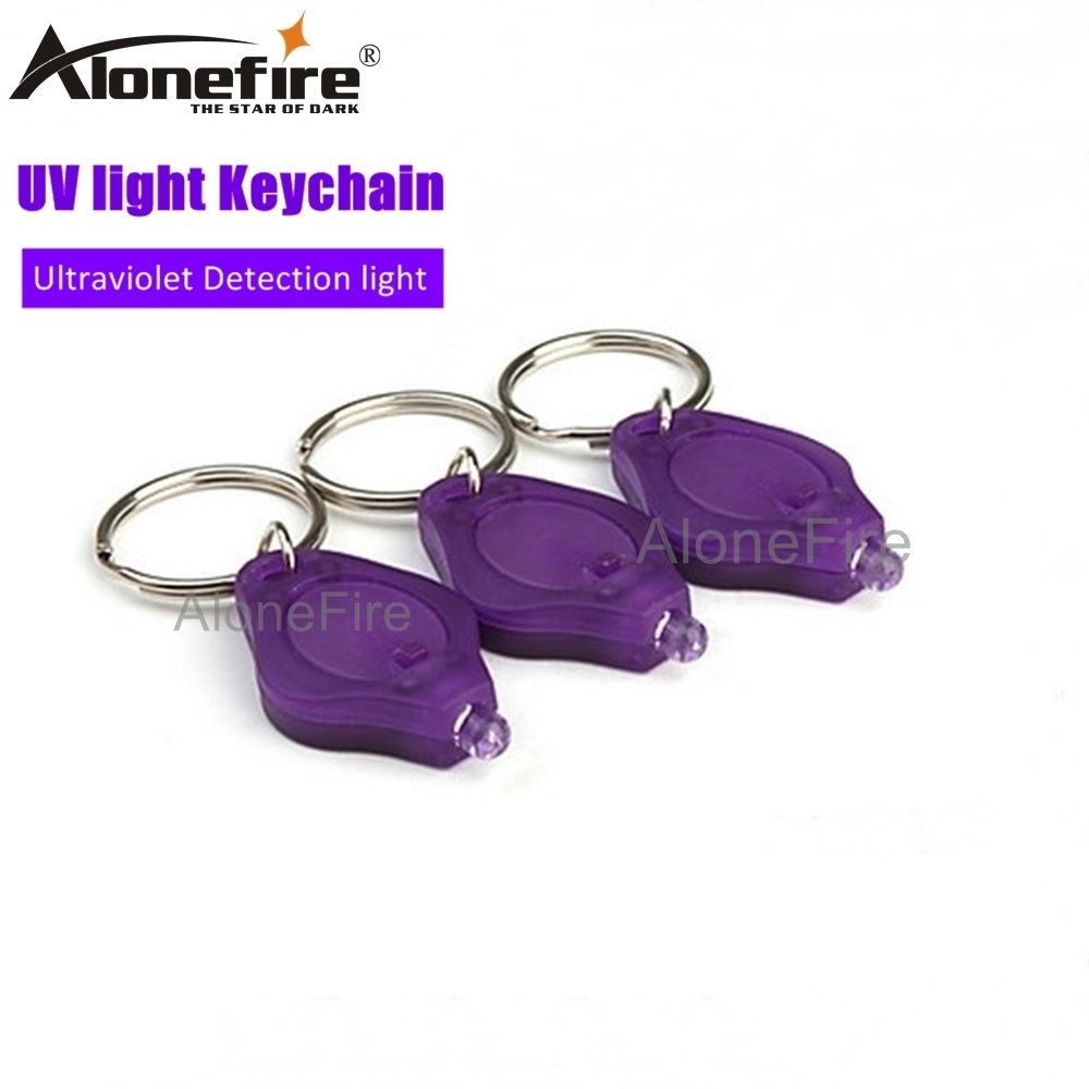 UV Mini Keyring Flashlight LED Torch Lamp Light Currency Detector Keychain