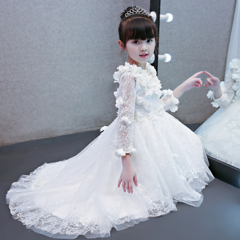 141d4ba98cccd New Kids children's Princess Lace Party clothing Luxury Elegant red white  pink color Birthday Wedding Ball Gown Dress 3-15ages