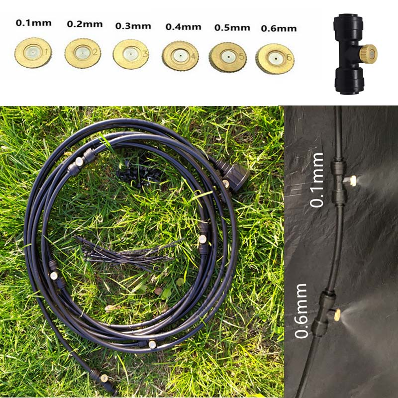18M Black Outdoor Misting Cooling System Kit for Garden Patio Watering Irrigation Fog Mist sprayer with nozzles in Sprayers from Home Garden