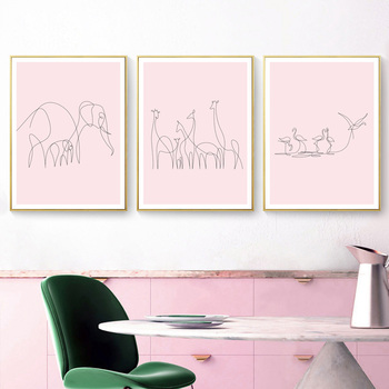 One Line Animals Wall Art