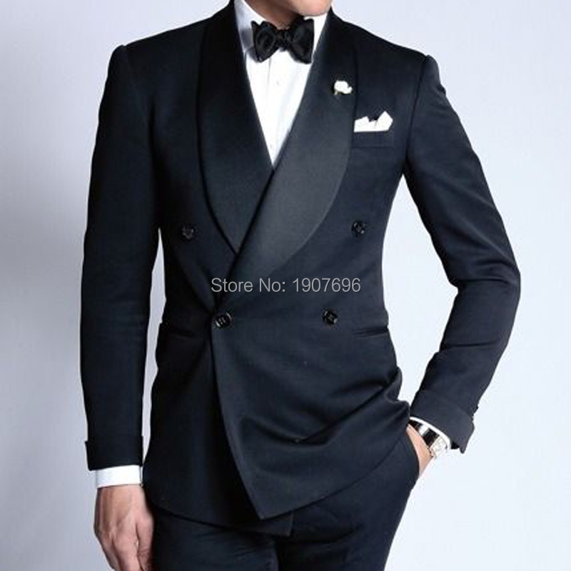 Double Breasted Wedding Groom Tuxedos For Navy Slim Fit Man Suits 2019 Shawl Lapel Two Piece Male Set Jacket With Pants 5xl New
