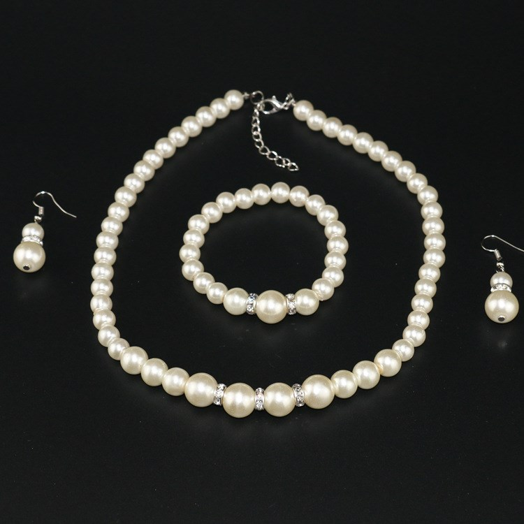 2019 Wedding Party Bridal Jewelry Sets Women Faux Pearl Drop Earrings Trendy Necklace Bracelet Bangles Set(China)