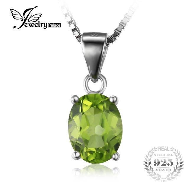Jewelrypalace 1.7ct oval natural verde peridot pedra solitaire pingente genuine 925 sterling silver não inclui uma cadeia