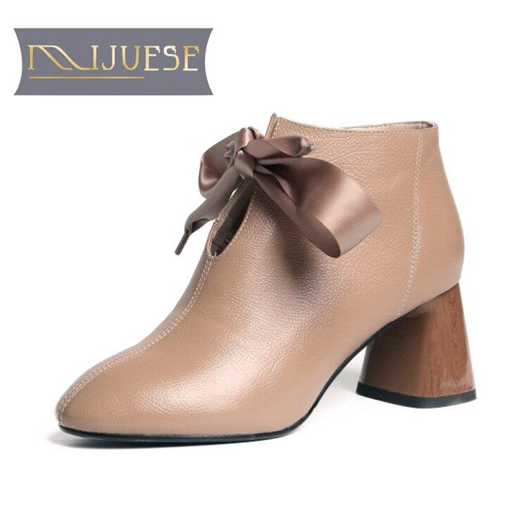 MLJUESE 2019 النساء حذاء من الجلد جلد البقر اللون الأسود عن تخصيص الدانتيل يصل الخريف الربيع عالية الكعب المرأة الأحذية حجم 40-في أحذية الكاحل من أحذية على  مجموعة 1