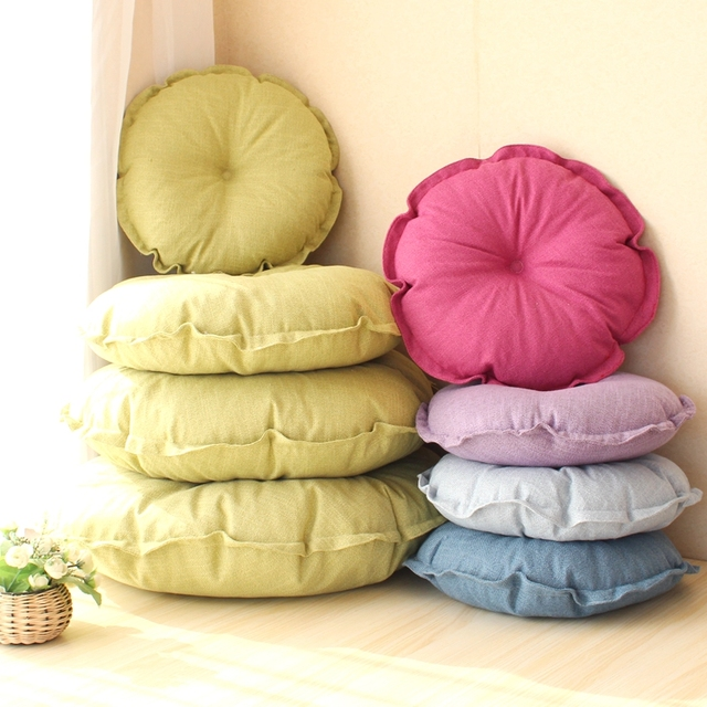 Zhh Seat Cushion Solid Color Simple Style Thick Cotton Chair Cushions Round Floor Pad Home Office 43x43x12cm