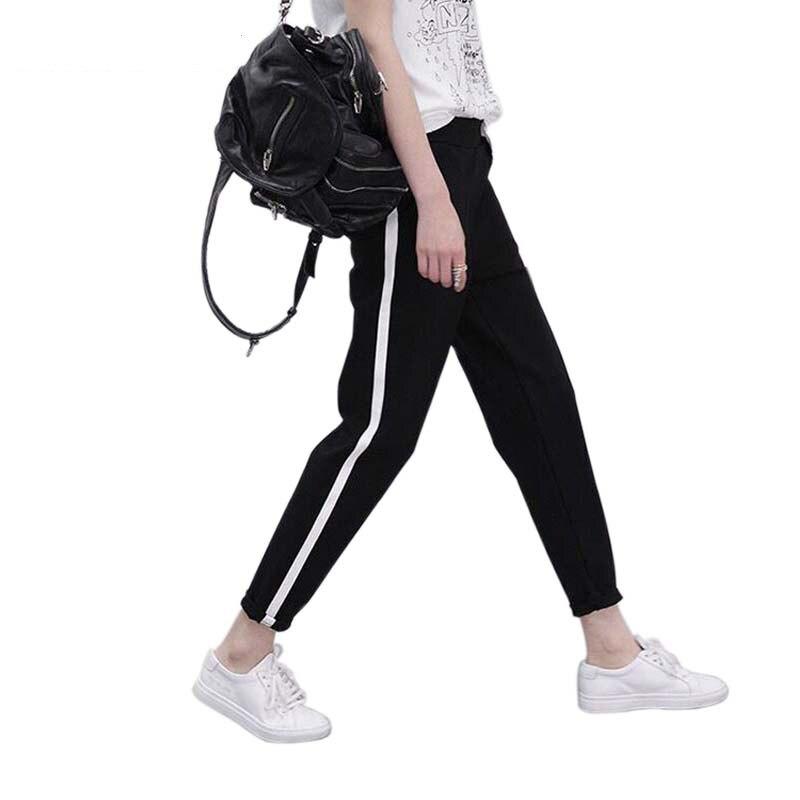 2018 Весна Треники Для женщин повседневные штаны-шаровары штаны свободного кроя для женский, черный в полоску сбоку тренировочные штаны женский плюс Размеры M-XXL