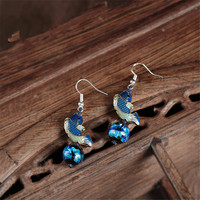 Retro National Style Ancient Silver Color Animal Fish Blue Glass Long Paragraph Symmetry Earrings 2017 Earrings