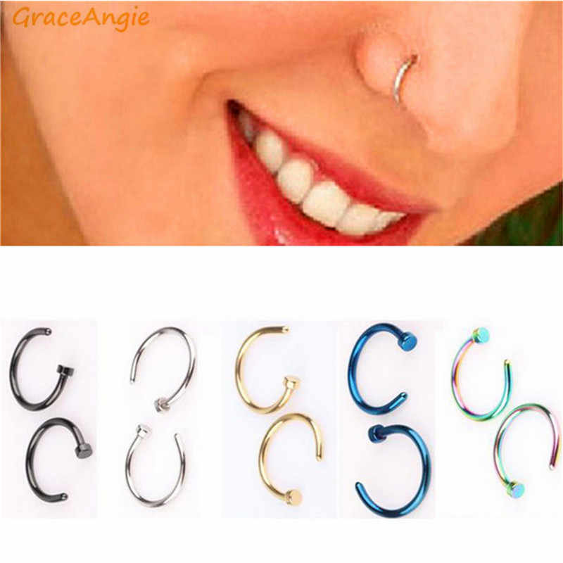 GraceAngie 2pcs Titanium Steel Nose Open Hoop Ring Colorful Simply Designed Bohemian Style Women Fashion Body Piercing Jewelry
