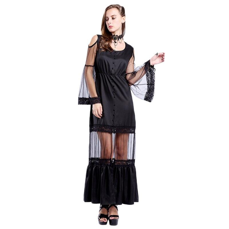 54878b4676fdd6 Punk Gothic Frauen Sexy Spitze Lange Kleid Visuelle Kei Steampunk  Transparent Flare Sleeve Schwarz Lang Kleid Freie Größe in Punk Gothic  Frauen Sexy Spitze ...