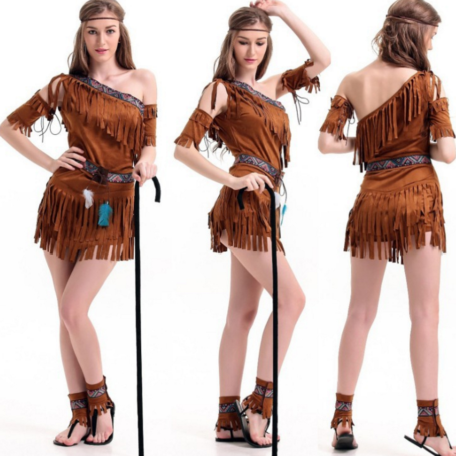 Pocahontas Indian Squaw Cowgirl Princess Fancy Dress Cleopatra Primordial Indigenous Tribe Halloween Costume For Women Girls