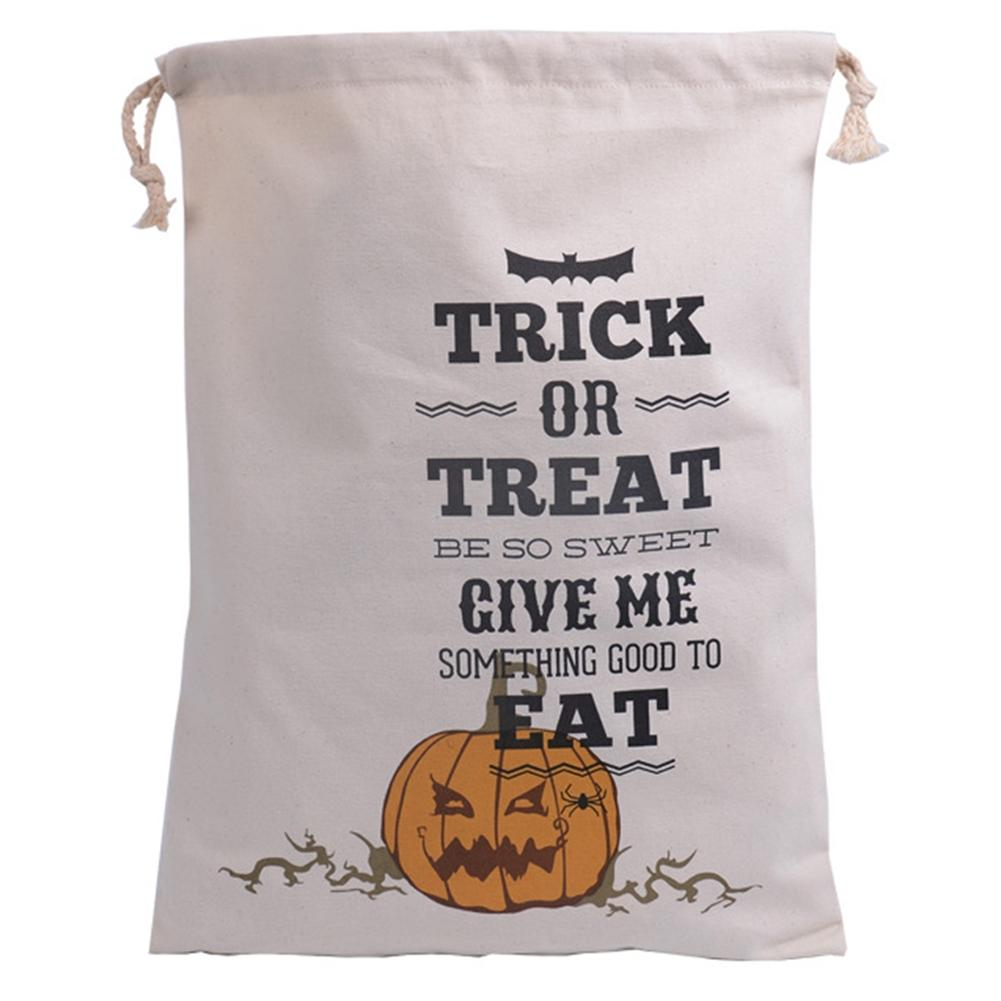 AsyPets Halloween Pumpkin Witch Bat Spider Pure Cotton Canvas Bags Beam Port Drawstring Sack Candy Gift Bags-30