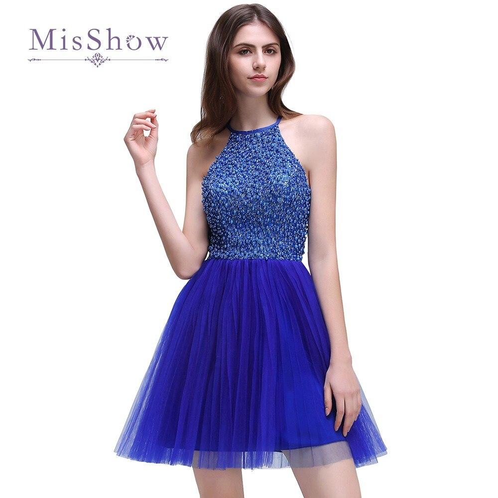 Vestido de Festa Curto Luxury Beaded Crystals Royal Blue Cocktail ...