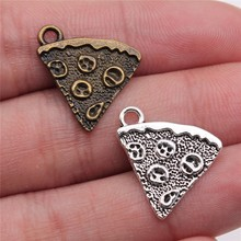 WYSIWYG 10pcs 21x16mm Pendant Biscuits Pizza Charm Pendants For Jewelry Making Antique Silver Color Cake Pendants
