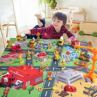 31 Pcs Construction Vehicle Fire Truck Playmat Model Engineering Car With Traffic Sign Kids City Rug Traffic Toys