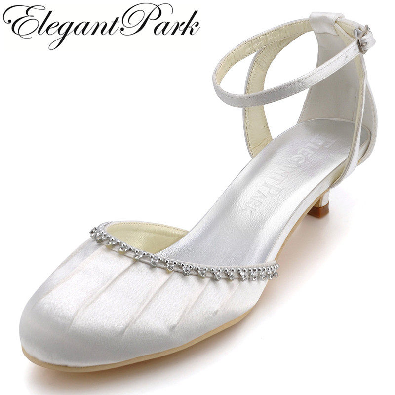 4cb3bba4d99 Elegantpark EP90729 White Round Toe Rhinestone Ankle Strap Low Cone Heel  Pleated Satin Wedding Shoes