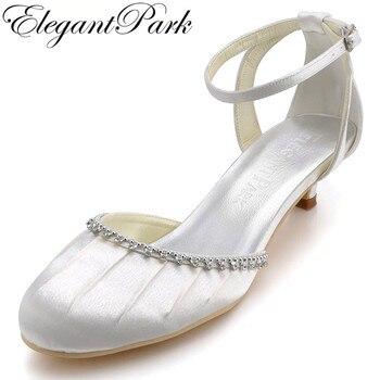 Elegantpark  EP90729 White Round Toe Rhinestone Ankle Strap Low Cone Heel Pleated Satin Wedding Shoes