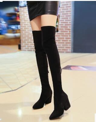 2017 fashion pointed toe  square heel over the knee well matched clothes boots for women show slim elegant shoes  for spring