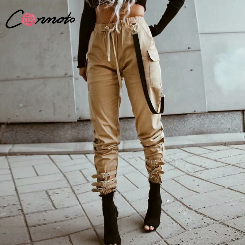 Conmoto Winter High Waist Drawstring Casual Cargo   Pants   Solid High Street Fashion Trousers Multi-pocket Loose   Pants     Capris   Women