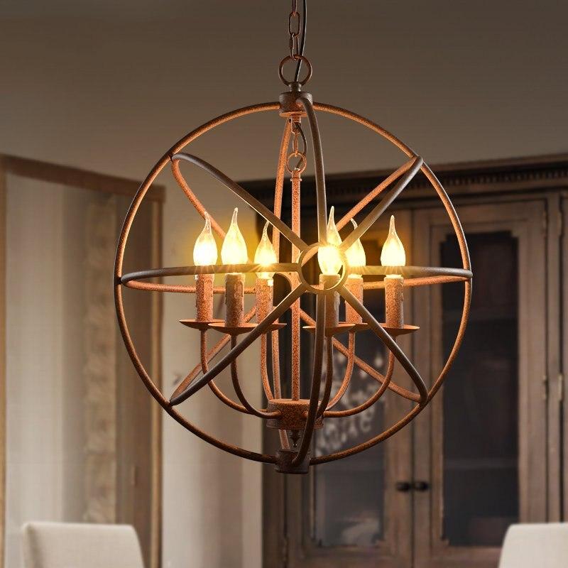 Лофт Винтаж круговой шар промышленные кованые клетка для птиц Подвесной Светильник Подвесной освещение для ресторана бар столовая