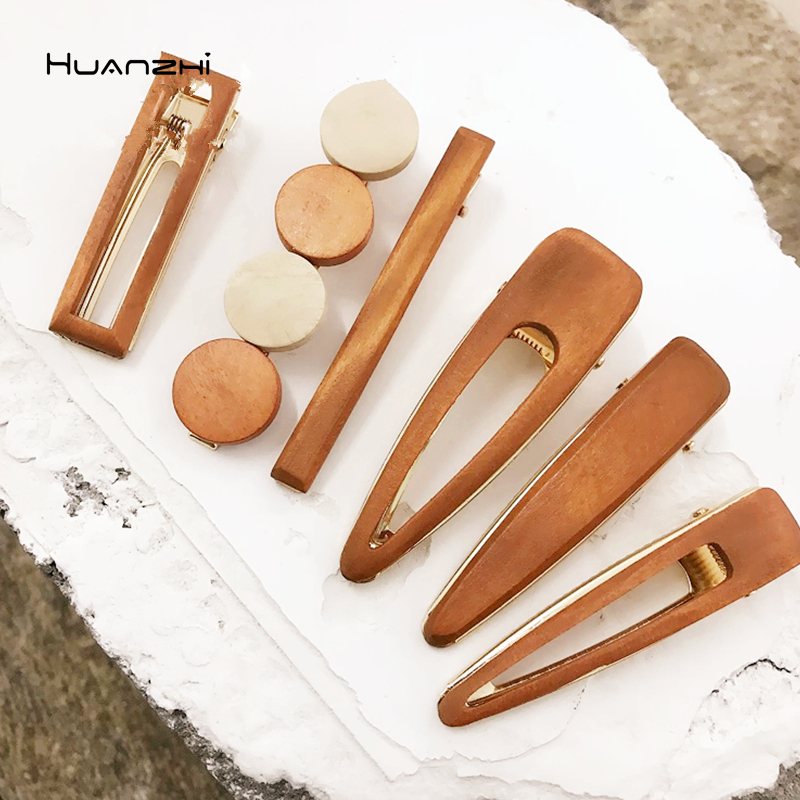 HZ New Wooden Various Types Geometric Square Round Type Hollow Barrettes Hair Ornament Hair Grip Hair Accessories For Women Girl