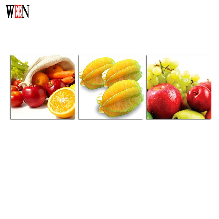 WEEN Stretched And Framed Fruits Wall Pictures For Home Decor Apple ...
