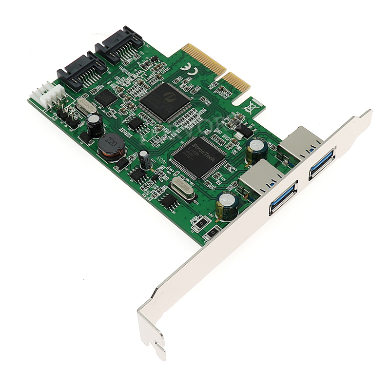 Internal 2 Ports SATA 6Gbps + 2 USB 3.0 PCI Express Controller Combo Card PCIe to Dual USB3.0 SATA 3.0 Port Multiplier