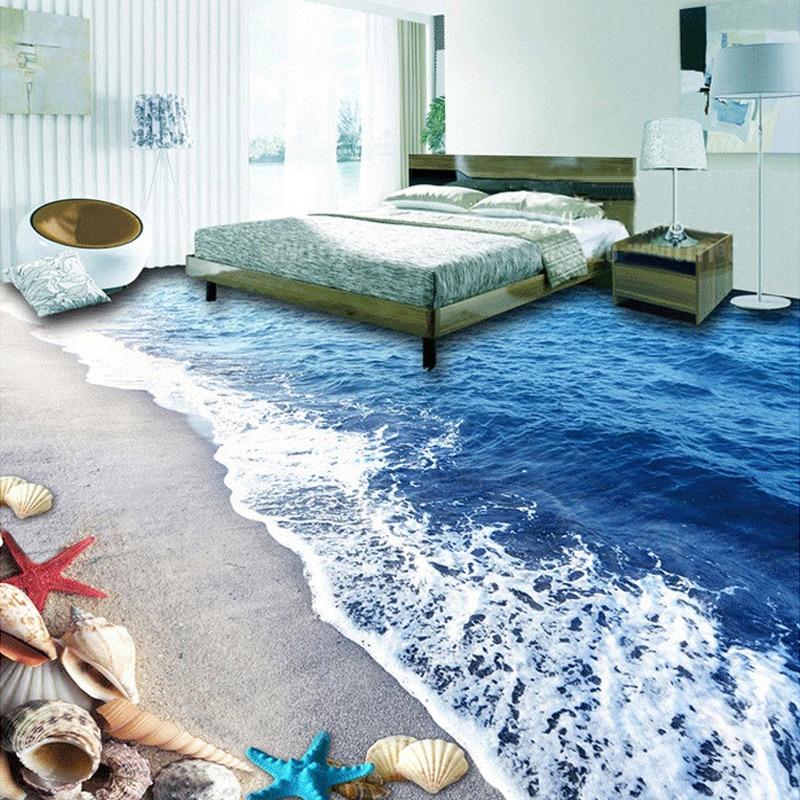Custom Floor Wallpaper 3D Beach Sand Shells Living Room Bedroom Bathroom Floor PVC Self-adhesive Waterproof Wall Mural Wallpaper