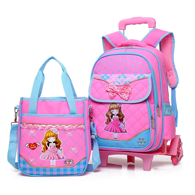 Stylish Princess Style Girls Children School Bag With 2/3 Wheels Trolley Backpack Gift For Girls Removable wheeled Bag mochila children school bag minecraft cartoon backpack pupils printing school bags hot game backpacks for boys and girls mochila escolar