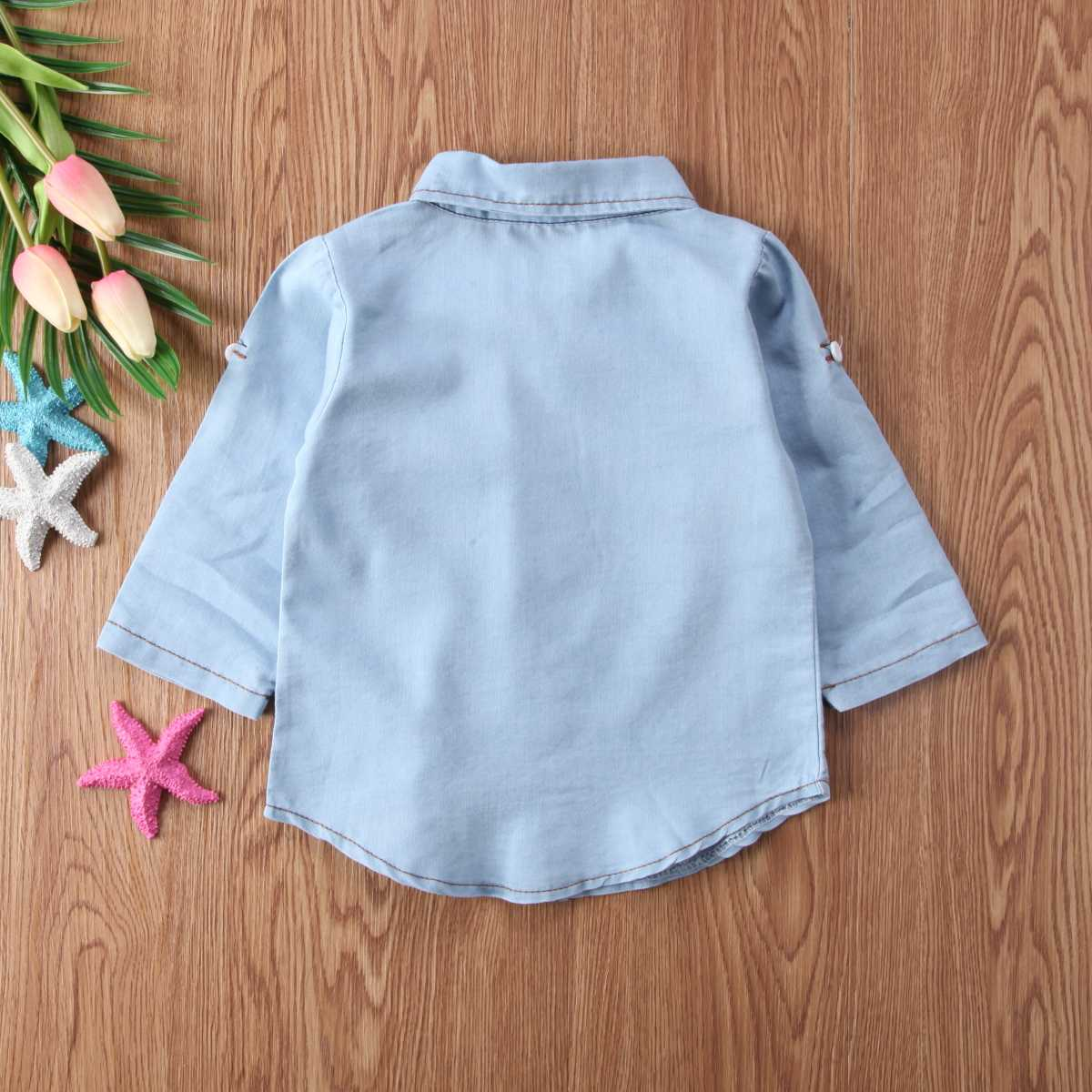 赤ちゃん女の子男の子キッズ紳士新生児デニムロングスリーブポケットボタンターンダウン襟服