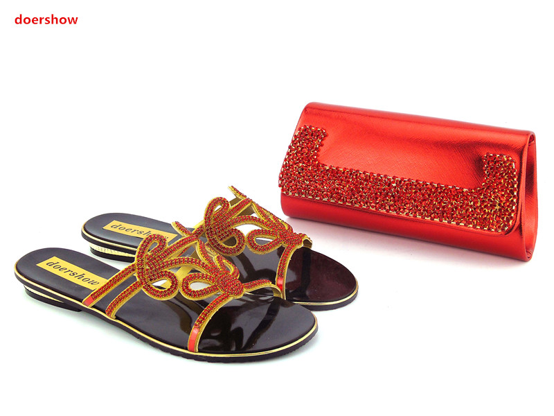 doershow Shoes and Bag Set Decorated with Rhinestone Nigerian Shoes and Bag Set for Women Italian Women Shoes and Bag Set!HZO1-3 doershow african shoes and bags fashion italian matching shoes and bag set nigerian high heels for wedding dress puw1 19