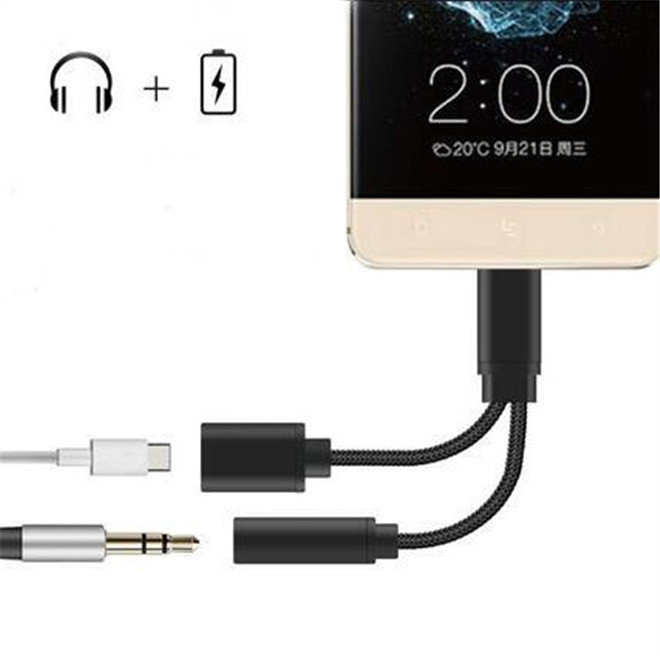 USB Type C Audio Cable Charger & Music 2 in 1 USB Type-C to 3.5mm jack Audio Conversion For Xiaomi Mi6 Letv Le 2 Pro Max