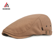 1eedcd62 QIUBOSS Men Wool Felt Newsboy Caps Hats Solid Color Gatsby Ivy Cap Male  Casual Flat Driving