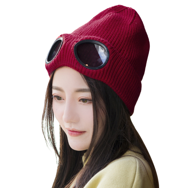 New Design Women Beanies Windproof Glasses Hat Bonnet Wool Winter Skullies Gorros Cap Knitted Hats Ladies Ski Caps For Girl aetrue winter knitted hat beanie men scarf skullies beanies winter hats for women men caps gorras bonnet mask brand hats 2018