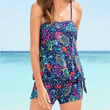 2019 New High-Elasticity Large Size Meat-Concealed And Lean Swimsuit With Dot Plant Print Blue Bikini Beach Holiday Fitness  167