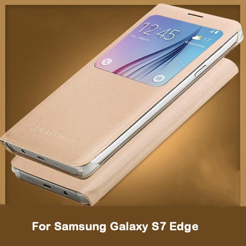 2017 Maintenant Pour Samsung Galaxy S7 Bord/S7edge cas, VOLSYS Style Business voir windows Flip En Cuir de couverture arrière cas 5.5 pouces